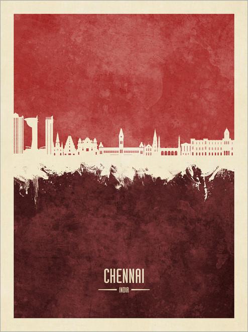Chennai India Skyline Cityscape Poster Art Print