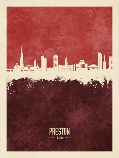 Preston England Skyline Cityscape Poster Art Print