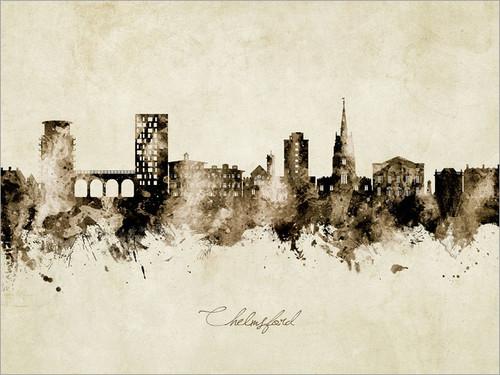 Chelmsford England Skyline Cityscape Poster Art Print