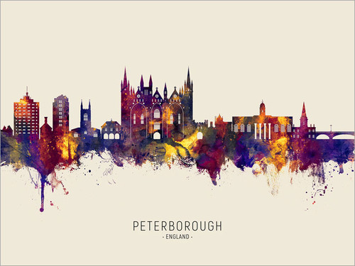 Peterborough England Skyline Cityscape Poster Art Print