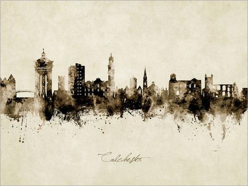 Colchester England Skyline Cityscape Poster Art Print