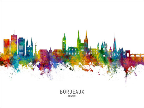 Bordeaux France Skyline Cityscape Poster Art Print