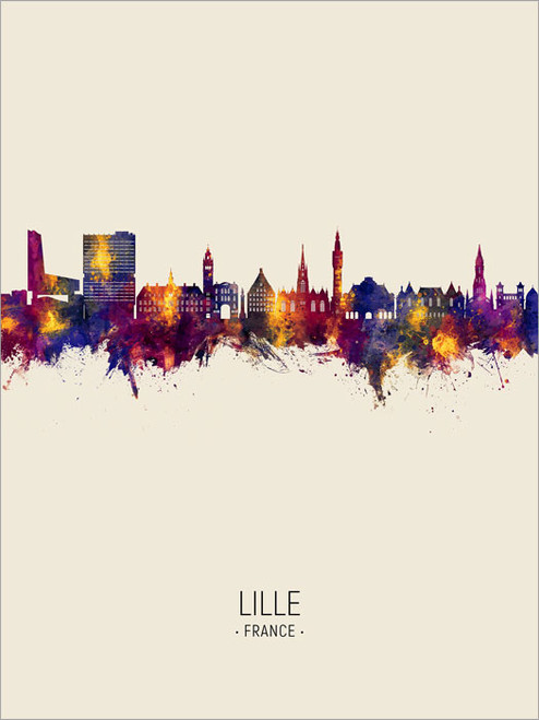 Lille France Skyline Cityscape Poster Art Print