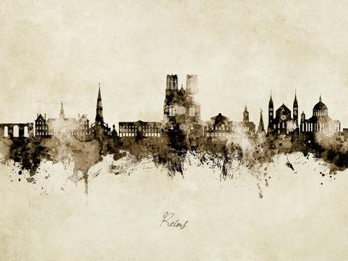 Reims France Skyline Cityscape Poster Art Print