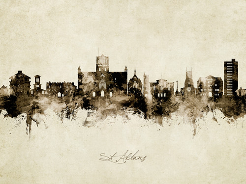 St Albans England Skyline Cityscape Poster Art Print