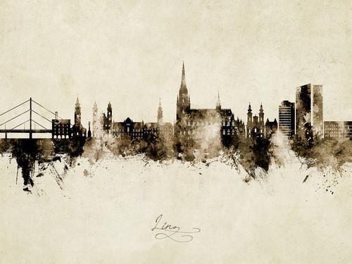 Linz Austria Skyline Cityscape Poster Art Print