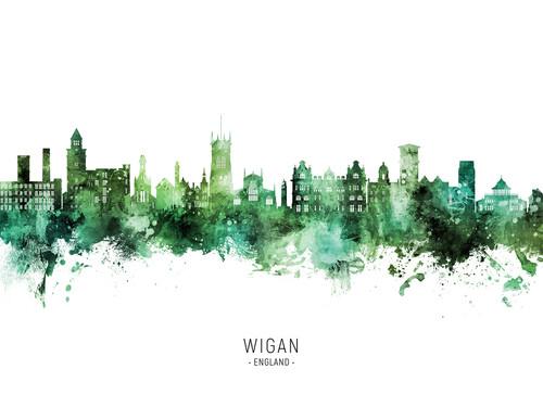 Wigan England Skyline Cityscape Poster Art Print