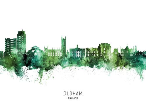 Oldham England Skyline Cityscape Poster Art Print