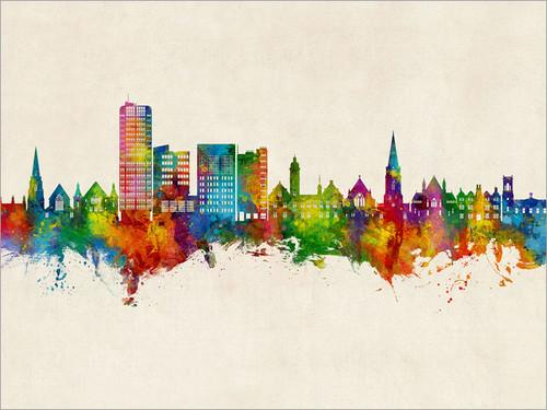 Swindon England Skyline Cityscape Poster Art Print