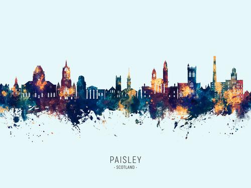 Paisley Scotland Skyline Cityscape Poster Art Print