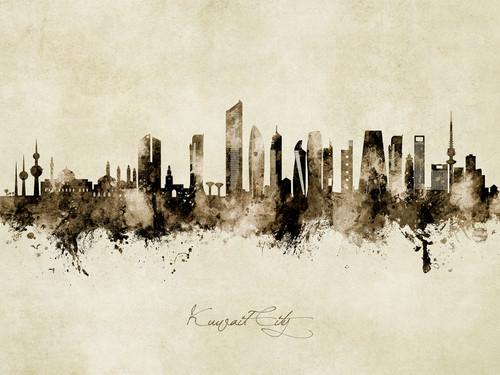 Kuwait City Kuwait Skyline Cityscape Poster Art Print
