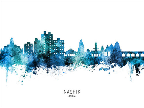 Nashik India Skyline Cityscape Poster Art Print