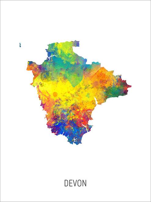 Devon Map Poster Art Print