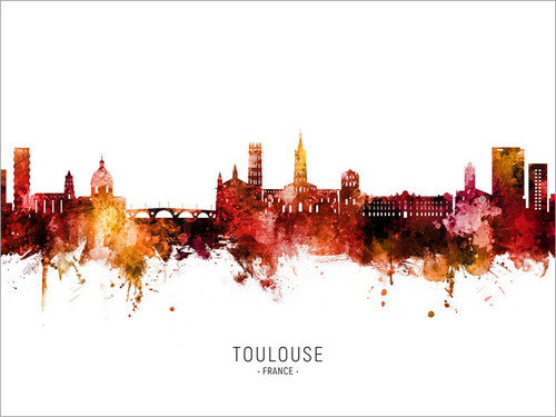 Toulouse France Skyline Cityscape Poster Art Print