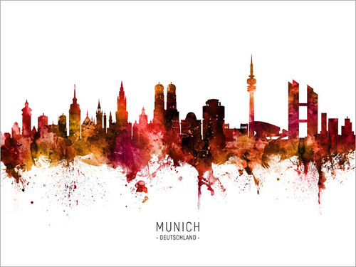 Munich Deutschland Skyline Cityscape Poster Art Print