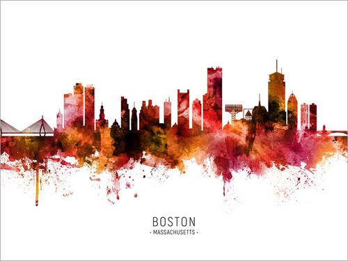 Boston Massachusetts Skyline Cityscape Poster Art Print