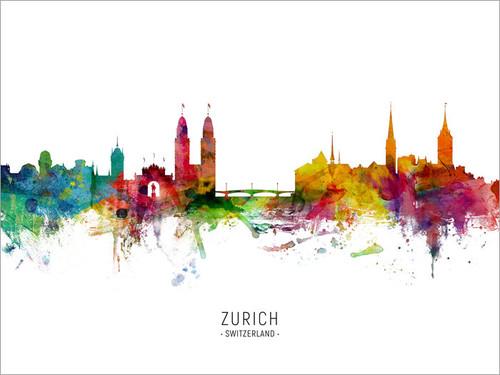 Zurich Switzerland Skyline Cityscape Poster Art Print