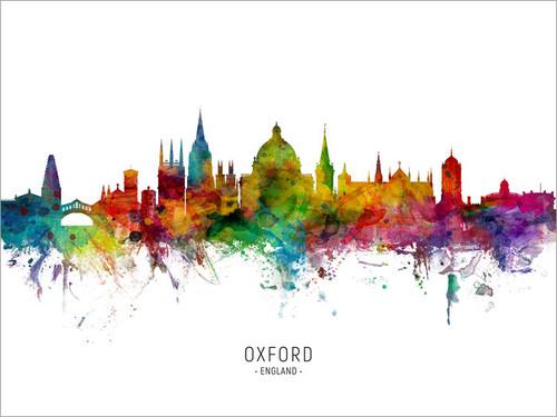 Oxford England Skyline Cityscape Poster Art Print