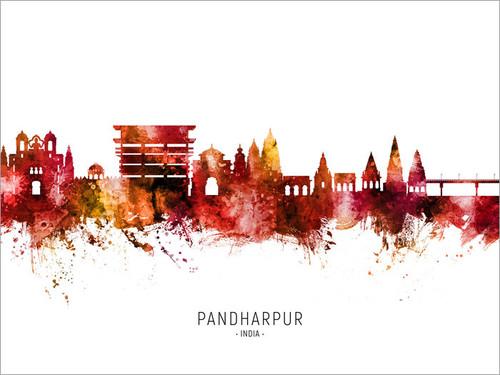 Pandharpur India Skyline Cityscape Poster Art Print