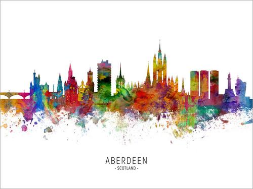 Aberdeen Scotland Skyline Cityscape Poster Art Print