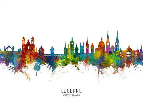 Lucerne Switzerland Skyline Cityscape Poster Art Print