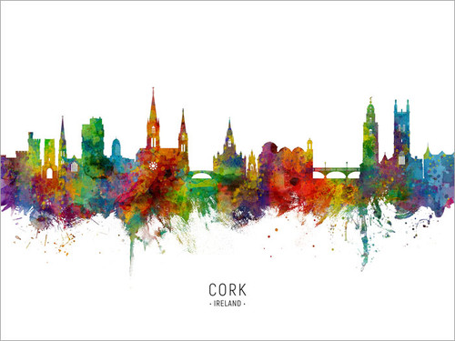 Cork Ireland Skyline Cityscape Poster Art Print