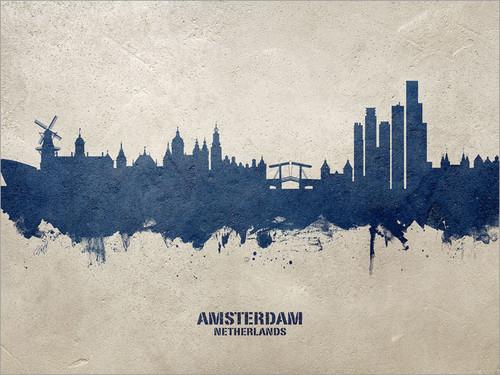 Amsterdam Netherlands Skyline Cityscape Poster Art Print