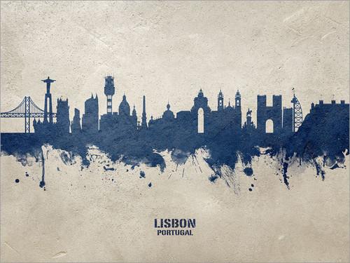 Lisbon Portugal Skyline Cityscape Poster Art Print