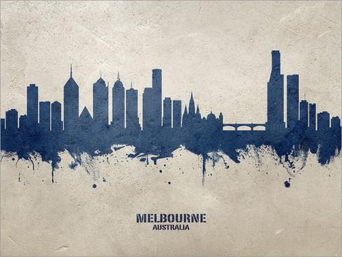 Melbourne Australia Skyline Cityscape Poster Art Print