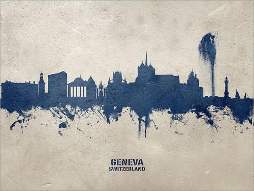 Geneva Switzerland Skyline Cityscape Poster Art Print