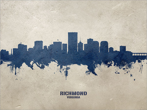 Richmond Virginia Skyline Cityscape Poster Art Print