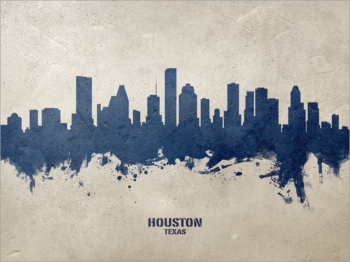 Houston Texas Skyline Cityscape Poster Art Print