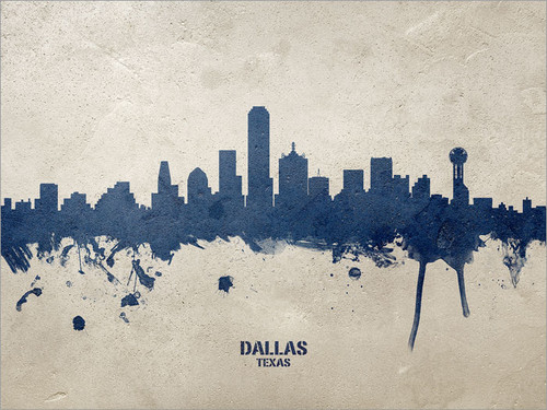 Dallas Texas Skyline Cityscape Poster Art Print