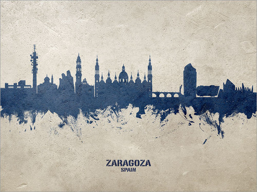 Zaragoza Spain Skyline Cityscape Poster Art Print