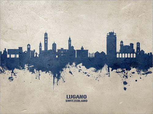 Lugano Switzerland Skyline Cityscape Poster Art Print