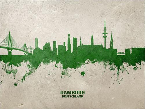 Hamburg Deutschland Skyline Cityscape Poster Art Print