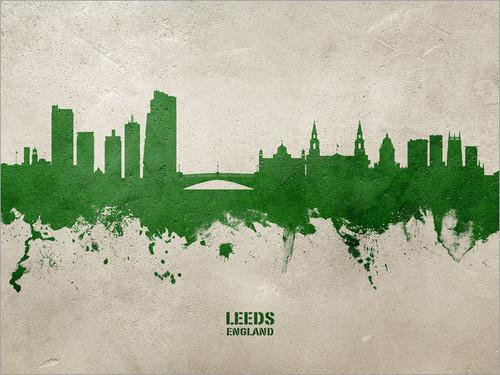Leeds England Skyline Cityscape Poster Art Print