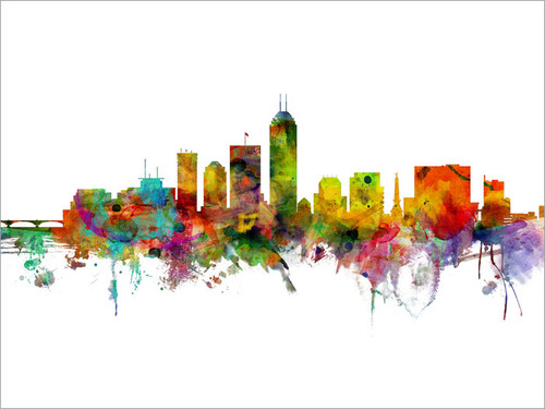 Indianapolis Indiana Skyline Cityscape Poster Art Print