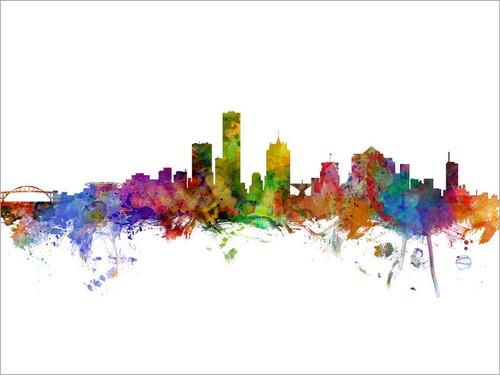Milwaukee Wisconsin Skyline Cityscape Poster Art Print