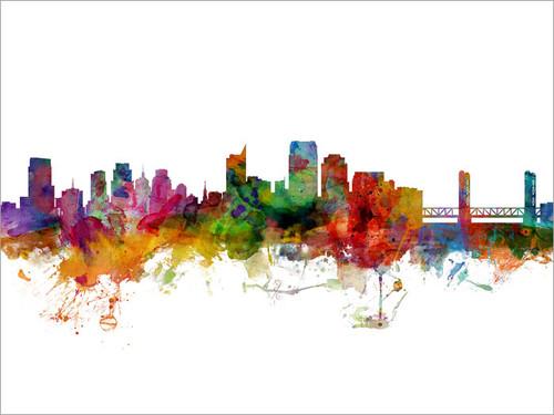 Sacramento California Skyline Cityscape Poster Art Print