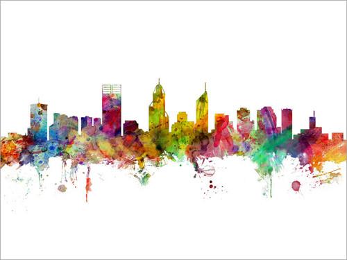 Perth Australia Skyline Cityscape Poster Art Print