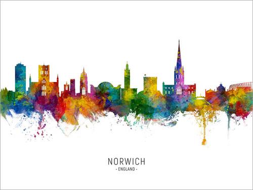 Norwich England Skyline Cityscape Poster Art Print