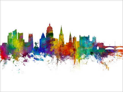 Nottingham England Skyline Cityscape Poster Art Print