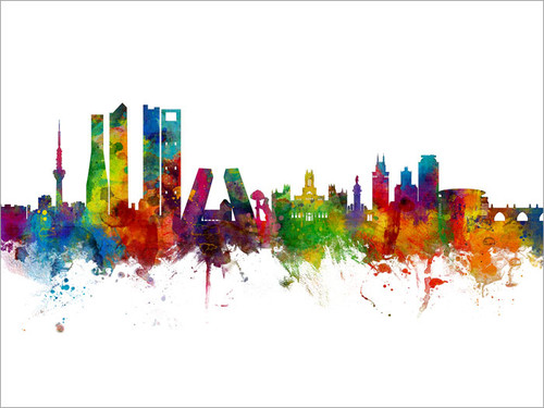 Madrid Spain Skyline Cityscape Poster Art Print