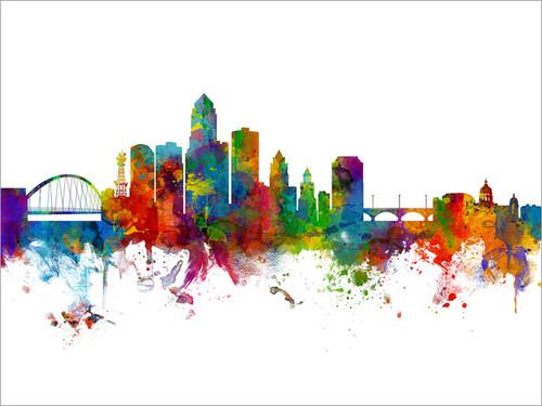Des Moines Iowa Skyline Cityscape Poster Art Print