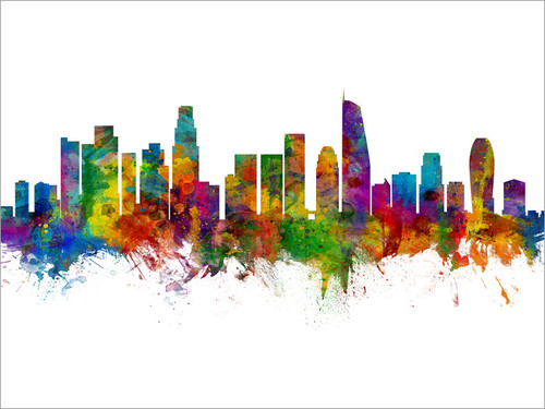 Los Angeles California Skyline Cityscape Poster Art Print