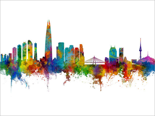 Seoul South Korea Skyline Cityscape Poster Art Print