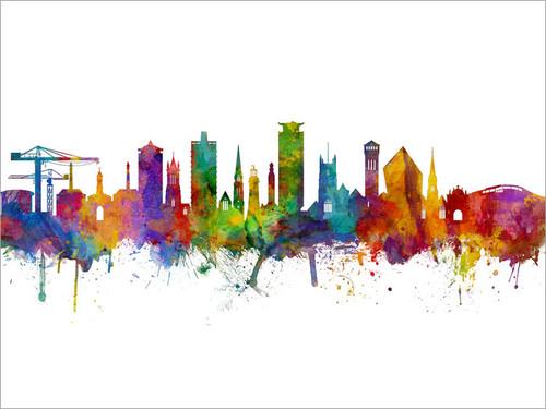 Plymouth England Skyline Cityscape Poster Art Print