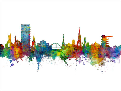 Cheltenham England Skyline Cityscape Poster Art Print