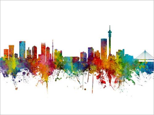 Johannesburg South Africa Skyline Cityscape Poster Art Print